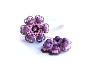 Beaded Flowers - 2 pcs. - Handmade Beadwoven Flower - Lavender, Purple - 24mm