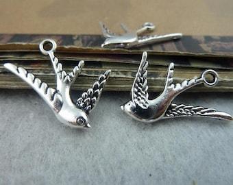 BULK 30 Swallow Bird Charms Antique Silver Tone