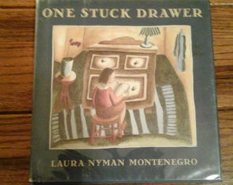 "Childrens Book Vintage  First Edition 1991 ""One Stuck Drawer"" Beautifully Illustrated/ Montenegro/Houghton Miflin"