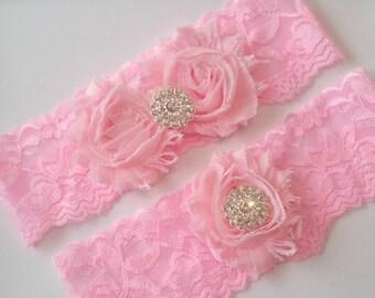 Liga novia Set, rosa cordón del estiramiento de la liga, Liga del recuerdo, sorteo Liga, juego de Liga de novia Rosa, rosa ligas novia