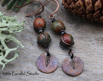 Unakite Earrings, Unakite Jewelry, Copper Earrings, Rustic Earrings, Copper Jewelry, Green Earrings, Nature Inspired, Rustic Jewelry, Copper