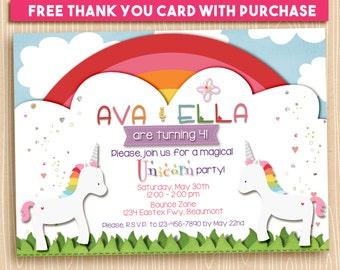Magical Rainbow Unicorn Twins Sisters Friends Party Invitation, Printable, Birthday, 5x7