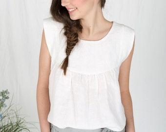 Womens white linen summer top