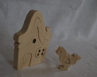 Puzzle chicken house, Wooden toys, Waldorf Toy, Puzzle Toy, Wooden Puzzle House, Wooden handmade toys, waldorf toy