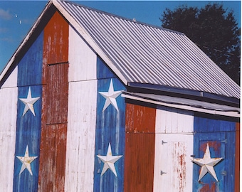 RED WHITE BLUE BARN/11x14 matted photo
