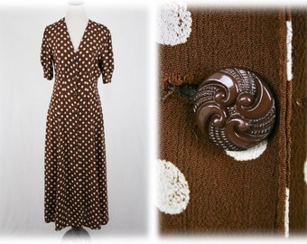 1990s Brown Polka Dot Rayon Dress by Express Made in USA Size 9/10