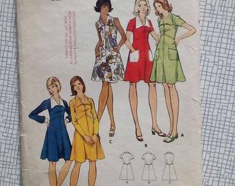 "1970s Dress - 38"" Bust - Butterick 3068 - Vintage Sewing Pattern"