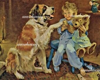 Art Print Bedtime for Dog, Little Girl, and Teddy Bearl #461