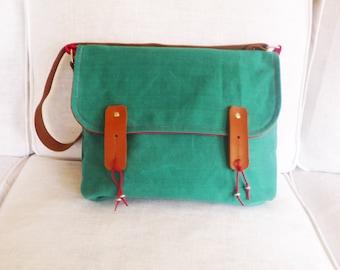 Teal greenMessenger Bag / Waxed Canvas Messenger Bag/ Leather Strap Bag / Crossbody Messenger / CHRISTMAS GIFT / Free Express Shipping