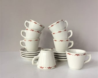 1960s Restaurant Ware, Vintage Saxony by Mayer China, Two Sets Four Cups and Saucers, Hotel Diner Dinnerware, Mid Century Coffee Cups Teacup