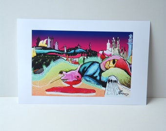 A3 Art Print. Wall Art. Illustration- Girl's Horizon