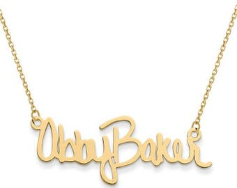 14k Yellow or 14k White Gold or Sterling Silver Gold Plated Sterling Silver Your Two Name Signature  Necklace Personalized
