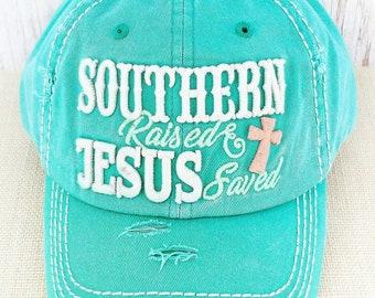 Southern Raised, Jesus Saved Cap, Women's Hat, Jesus Saves Baseball Cap, Christian hat
