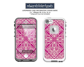 Lifeproof Case Fuschia Rose Damask Decorative Cover Skin Decal for iPhones!