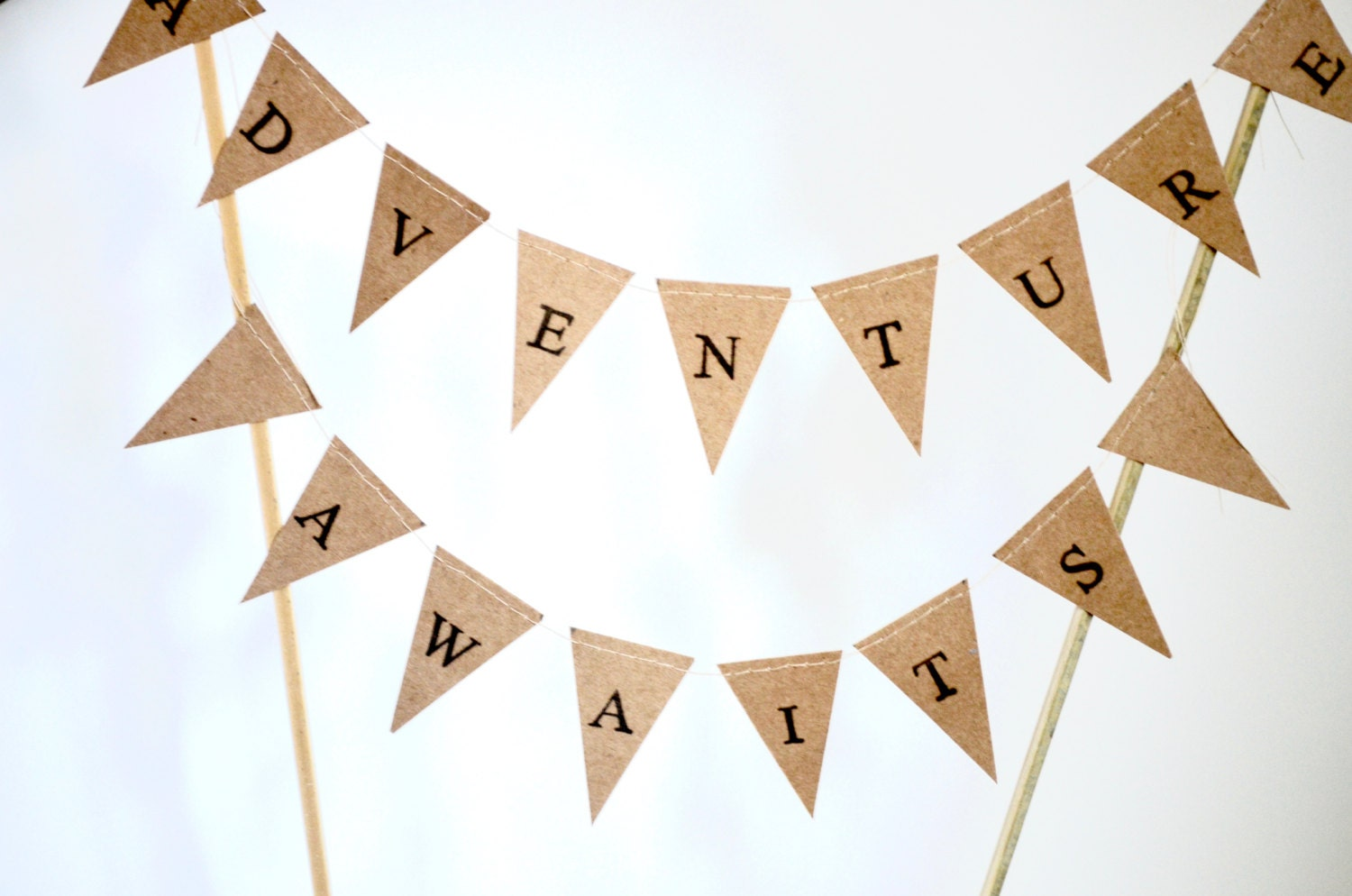 ADVENTURE AWAITS Hand Stamped Cake Topper Garland, mini paper ...