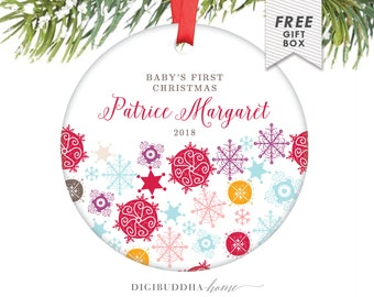 Baby's First Christmas Ornament Baby Girl Christmas Girl Baby Ornament New Baby Rainbow Snowflakes Baby's 1st Christmas Ornament Snow