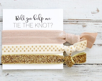 Bridesmaid Hair Ties | Bridesmaid Gift | Will You Help Me Tie The Knot | Gold Glitter + Vanilla + Polka Dots | Wedding Favors