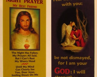 """Night Prayer - """"My Best Friend"""" Bookmark/Sacred Heart with Gold Plated Cross Charm"""