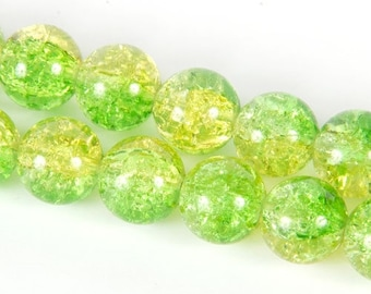 10 x 6 mm yellow/green Crackle Glass round beads