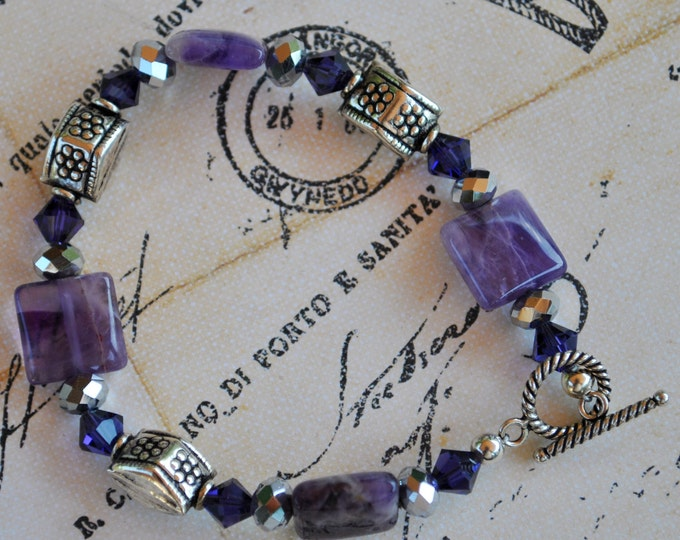 Amethyst Bracelet set with purple crystals, and sterling silver Bali beads