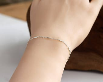 Dainty Chain Bracelet, Sterling silver, silver chain bracelet,delicate bracelet, thin bracelet, Layering Bracelet,Stranded Silver Bracelet