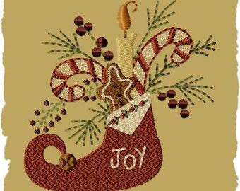 Primitive Machine Embroidery Design-Joy Stocking ~ Version 1--(4x4)-INSTANT DOWNLOAD