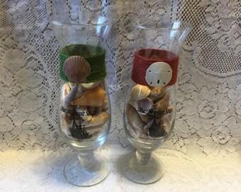 Hurricane Glasses from the Treasure Ship Full of Florida Seashells Beach Shells
