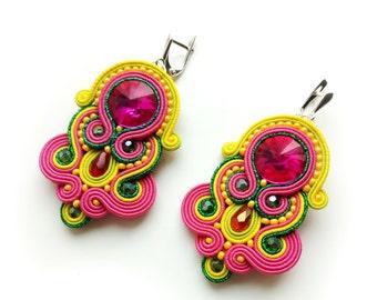 Soutache Statement earrings Soutache jewelry