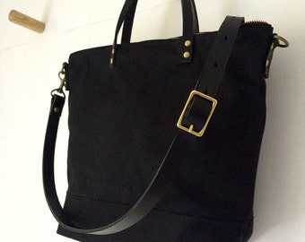COMMUTER BAG | Mid-Size Waxed Canvas Leather Tote | Crossbody Shoulder Strap | Messenger | Zipper Top | 4 Pockets | Black