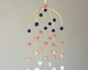 Baby Mobile : Coral Delight with navy, coral, peach, and ivory
