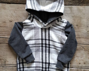 White and Grey Plaid Flannel Hoodie