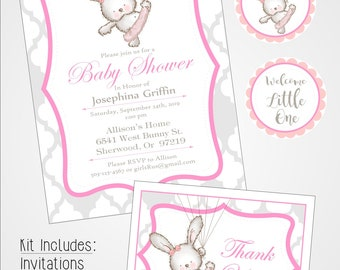 Ballerina Bunny Baby Shower Kit, Instant download