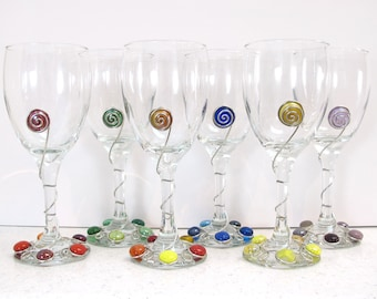 One Beaded Wine Glass, Wire Rapped Wine Glass,  Colorful Wine Glass, Unique Wine Glass, Individual Wine Glass, Single Wine Glass