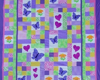 TWIN Quilt PATTERN - PDF - twin size bed quilt - child - girl - garden theme - butterfly - flowers - hearts