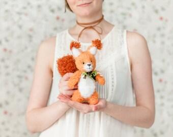 Stuffed squirrel plush toy, Crocheted squirrels soft toys, Fluffy amigurumi squirrel orange, Handmade squirrel doll, Knitted squirrel cute