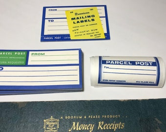 Vintage Dennison Mailing Labels and Boorum and Pease Receipt Book