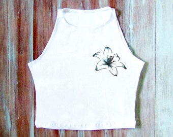Blaue tropische Blume Crop Crop Top-Yoga Crop Top-tropischen Top-Festival Crop Top