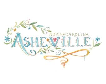 Asheville | Watercolor | Lettering