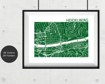HEIDELBERG City Map, HEIDELBERG Travel Map, Modern Wall Art, HEIDELBERG Street Map Print, Custom City Map, Office Decor, Heidelberg souvenir