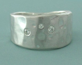 Sterling Silver and Moissanite Ring, Wide Tapered Band , Shoreline
