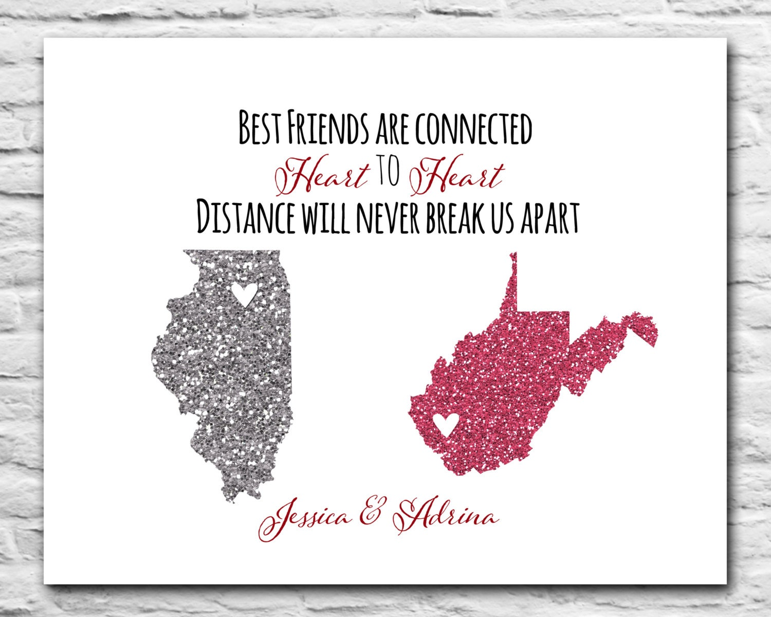 Quotes About Friendship And Distance Best Friends Gift Long Distance Friendship 8X10
