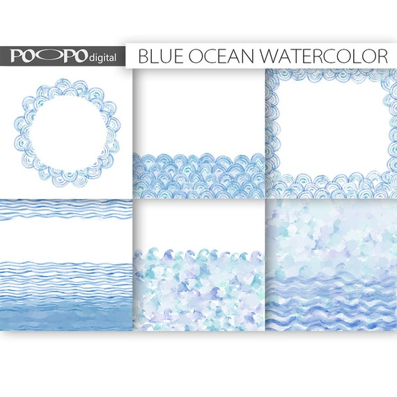 ocean watercolor digital paper 85 x 11 invitation wedding