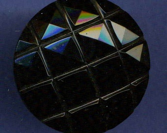 Button, Black Glass with Squares Pattern, Large