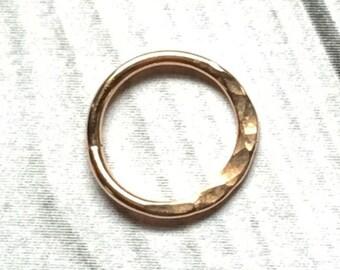 18K Gold Nose Ring, 14 to 24 Gauge, Gold Hammered Septum Ring, Gold Nose Hoop, 14g 16g 18g 20g 22g 24g, Hammered Gold Hoops