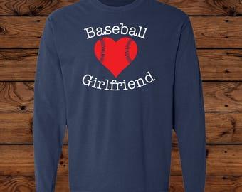 Baseball Girlfriend - Comfort Colors Long Sleeve - Baseball Love - Baseball Team - Baseball Laces - Baseball heart
