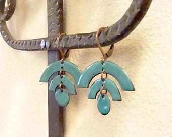 Copper Glass Enamel Tribal Earrings, Art Deco, Mid Century Modern, Arches Semi Circle, Native American, Geometric Statement, Arcata Earrings