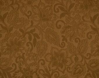 Brown Jacobean Floral Matelasse Upholstery Fabric