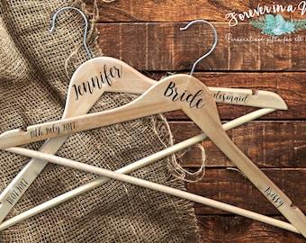 Personalised Wedding Coat Hangers for Bride, Maid of Honour, Bridesmaid etc, Dress Hanger