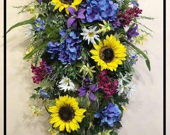Floral Door Swag, Summer Door Swag, Front Door Swag, Front Door Wreath, Summer Door Wreath, Sunflower Wreath, Summer Wreaths For Front Door