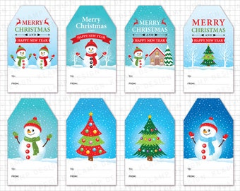 "Christmas Tags Clipart: ""CHRISTMAS GIFT Tags Printable"" Merry Christmas Tags, Holiday Gift Tags, Christmas Labels, Christmas Decoration"